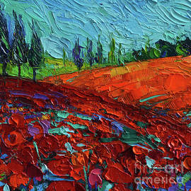 Field of dreams - Tuscany Poppies Detail 5 Mona Edulesco palette knife oil painting by Mona Edulesco