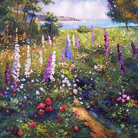 Field Of Hollyhocks by David Lloyd Glover