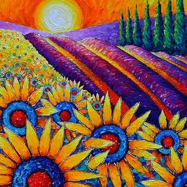 FIELDS OF GOLD IN SUNRISE LIGHT commissioned painting sunflowers and lavender Ana Maria Edulescu by Ana Maria Edulescu
