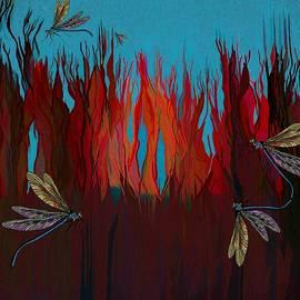 Fiery Reeds Dragonflies Take Flight by Joan Stratton