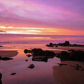 Fiery Sunset Sandymouth Beach Rock Pools Cornwall by Richard Brookes