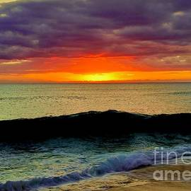 Fiery Sunset Wave  by Craig Wood