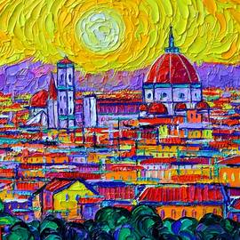 FIRENZE ABSTRACT ROOFTOPS AT SUNSET textural impasto palette knife oil painting Ana Maria Edulescu by Ana Maria Edulescu