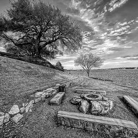 Firepit View on Lake Granbury Black and White by Judy Vincent