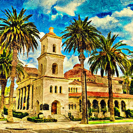 First Church of Christ, Scientist, in Riverside, California - impasto oil painting by Watch And Relax