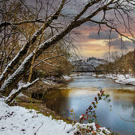 First Snowfall on Christmas Morning at the River  by Debra and Dave Vanderlaan