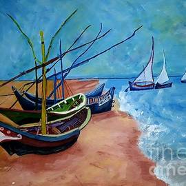 Fishing Boats On The Beach by Tanuja Rangarao