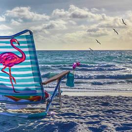 Flamingo at the Beach by Debra and Dave Vanderlaan