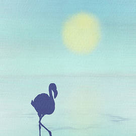 Flamingo Silhouette Watercolor Vertical by Patti Deters