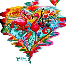 Flamingo Valentine Heart by Genevieve Esson