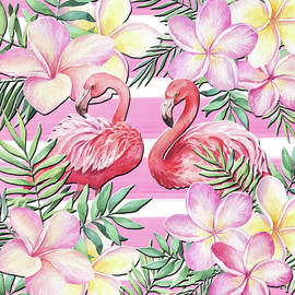 Flamingos In The Garden by HH Photography of Florida
