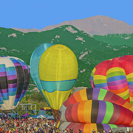 Fliegen Is German For Flying. Labor Day Balloon Festival, Colorado Springs At The Base Of Pikes Peak by Bijan Pirnia