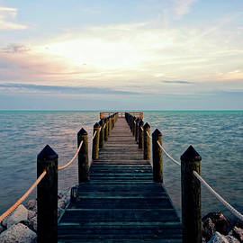 Floating on Golden Blue Light - Atlantic Ocean Sunset in Islamorada by Felipe Correa