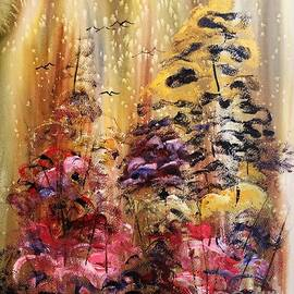 Flowers in Spring Abstract Watercolor  by Catherine Ludwig Donleycott