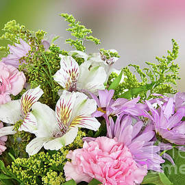 Floral Bouquet in Pink, Green and White by Regina Geoghan