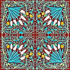 Floral Design in Turquoise, Yellow and Red by Lise Winne