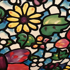 Floral Mosaic Glass Painting by Sandi OReilly