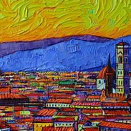 FLORENCE ABSTRACT SKYLINE AT SUNSET commissioned palette knife oil painting Ana Maria Edulescu by Ana Maria Edulescu