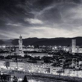 Florence BW - Sunrise view of Duomo and Giotto's bell tower, Santa croce and palazzo signoria by Stefano Senise