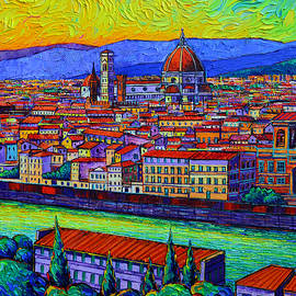 FLORENCE DOME AND ROOFTOPS OVER ARNO textural impasto palette knife oil painting Ana Maria Edulescu by Ana Maria Edulescu
