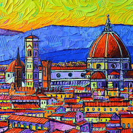 FLORENCE DUOMO ABSTRACT CITYSCAPE commissioned palette knife oil painting Ana Maria Edulescu by Ana Maria Edulescu