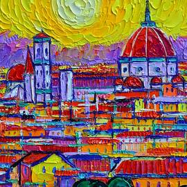 FLORENCE SUNSET ABSTRACT CITYSCAPE 83 textural impasto palette knife oil painting Ana Maria Edulescu by Ana Maria Edulescu