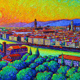 FLORENCE SUNSET GLOW FROM PIAZZALE MICHELANGELO commissioned oil painting Ana Maria Edulescu by Ana Maria Edulescu