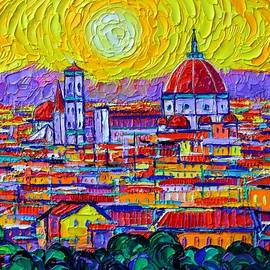 FLORENCE SUNSET OVER DUOMO FROM PIAZZALE MICHELANGELO abstract cityscape painting Ana Maria Edulescu by Ana Maria Edulescu