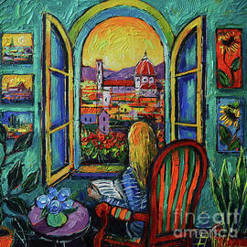 FLORENCE WINDOW oil painting Mona Edulesco by Mona Edulesco