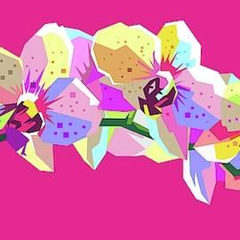 Flower WPAP Pop Art Pink Background by Ahmad Nusyirwan