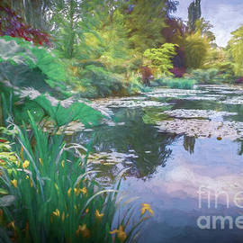 Flowers at the Edge of Monet's Waterlily Pond, Painterly  by Liesl Walsh