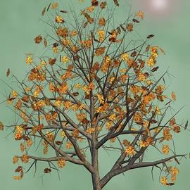 Flowers Beneath The Autumn Tree  by David Dehner