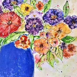Flowers In A Blue Vase by Barbara Chichester