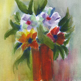 Flowers In A Orange Vase by Frank Bright