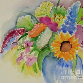 Flowers in Blue Vase by Johanna Zettler