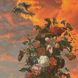 Flowers in the sunset by Benedetto Dante