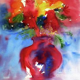Flowers Rainbow Blooms In A Red Vase by Janie Easley Ballard