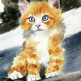 Fluffy Ginger Kitty Painting by Dora Hathazi Mendes