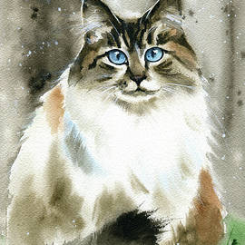 Fluffy Missy Cat Painting by Dora Hathazi Mendes