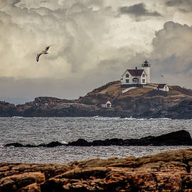 Flying Solo at Nubble Lighthouse by Jeff Folger
