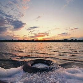 Foamy Tire In The Lake Water by PsychoShadow ART