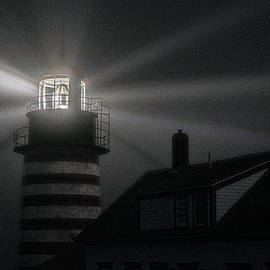 Fog and Moonlight At West Quoddy Head Lighthouse by Marty Saccone