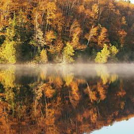Fog falling in at Hogback Lake by Tom Halseth