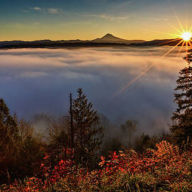 Foggy Oregon Sunrise by Wes and Dotty Weber