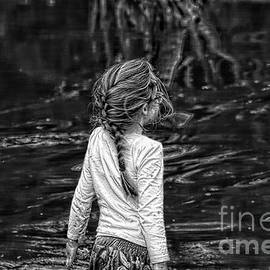 Follow The River Home - Girl Exploring River by Carolyn Parker