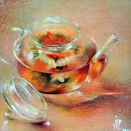 Food art,flower blooming in a gass kettlepainting by Vali Irina Ciobanu by Vali Irina Ciobanu