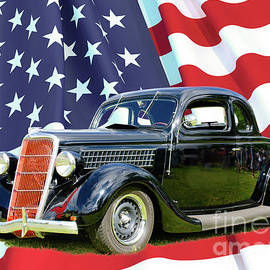 Ford Coupe 1935 and US Flag