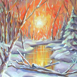 Forest Sunrise in Winter by Nancy Griswold