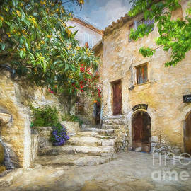 Fountain Courtyard In Eze, France 2, Painterly by Liesl Walsh