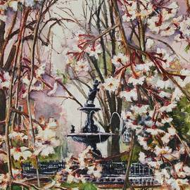 Fountain Square Park Spring in Reds by Misha Ambrosia